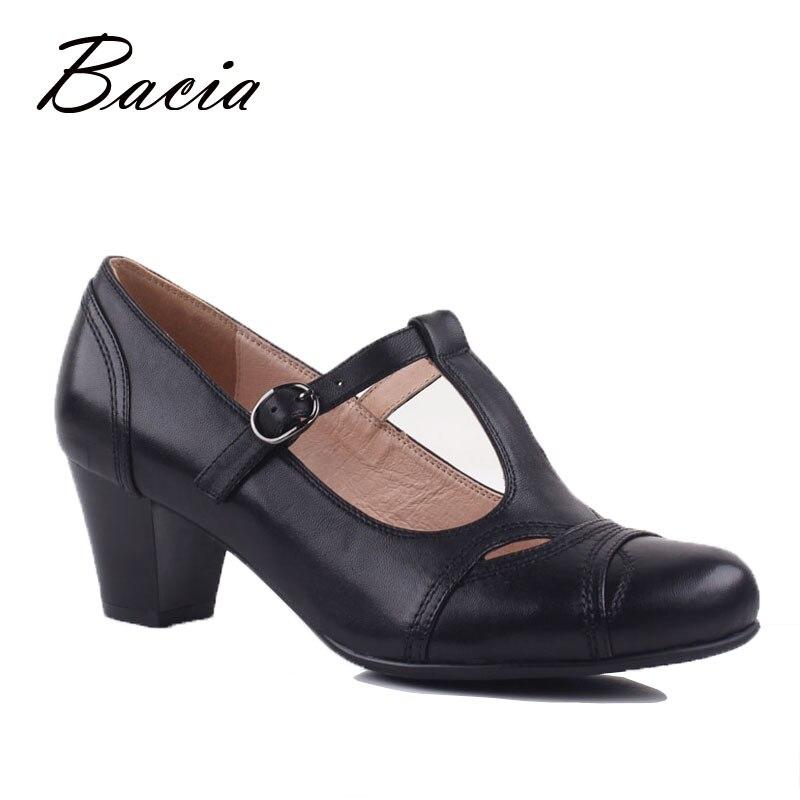 Bacia zapatos de cuero genuino de Mujer Zapatos de correa de