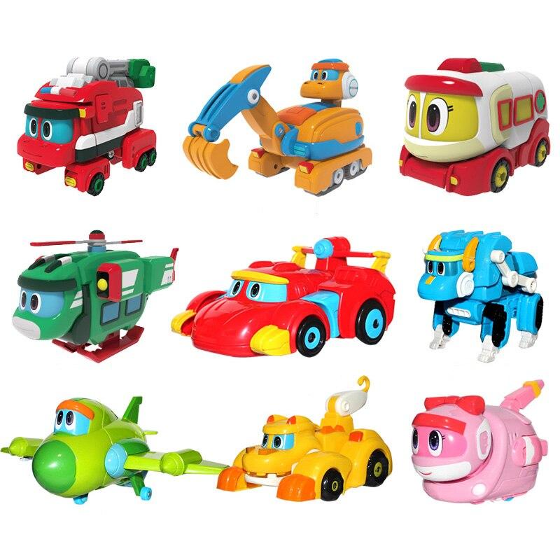 Lo más nuevo ABS Min deformación Gogo Dino figuras de acción REX transformación coche avión motor grúa dinosaurio juguetes para niños