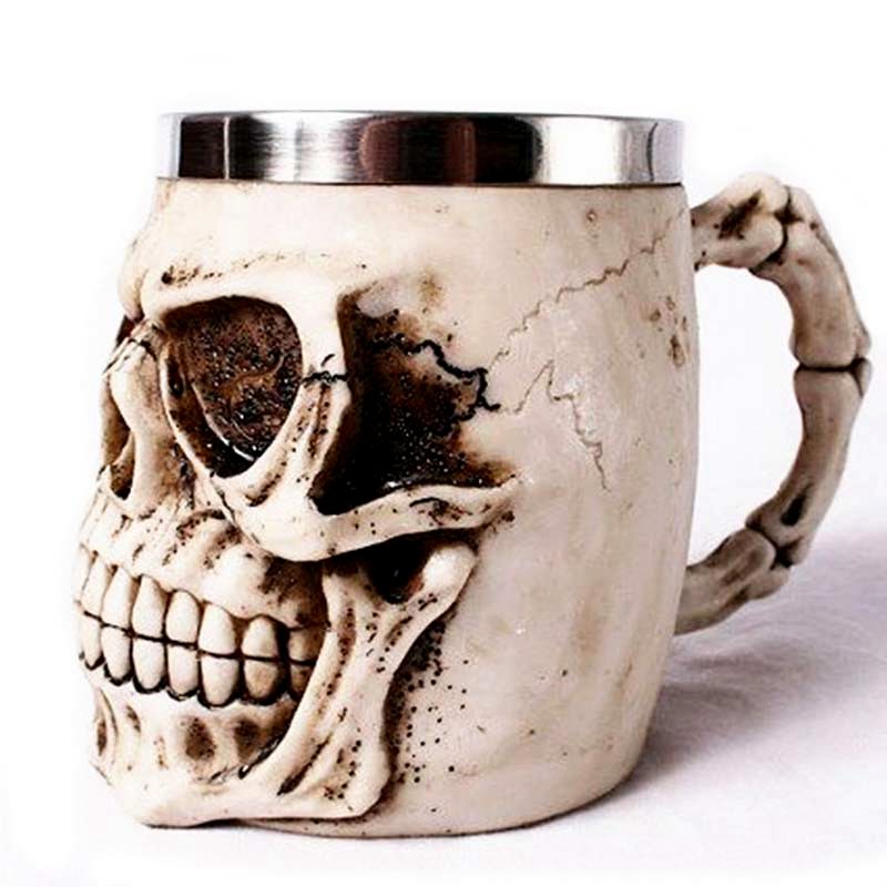 3D Realistic Skull Mugs Double Wall Stainless Steel Mug Cup Horror Big Skull Geek Coffee Beer Cup Cool Christmas Gift With Box 3