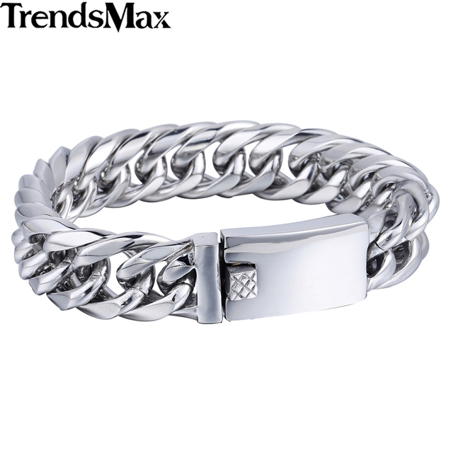 Trendsmax 16mm Heavy Black Color Double Curb Link 316L Stainless Steel Bracelet Fashion Boys Mens Chain Jewelry HB400