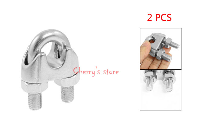 Best Promotion Wholesale Price 2 PCS Silver Tone 0.55 14mm Wire Rope Grip Cable Clamp 304 Stainless SteelBest Promotion Wholesale Price 2 PCS Silver Tone 0.55 14mm Wire Rope Grip Cable Clamp 304 Stainless Steel