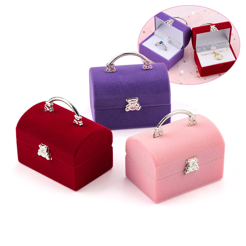 1 Piece Small Jewelry Box Velvet Wedding Ring Box Necklace Display Box Cute Bear Gift Box Container Case For Jewelry Packaging