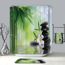 3D Tranquil Nature Scene Shower Curtains Bamboo Stone Flower Waterproof Mildew Proof Thickened Bath for Bathroom