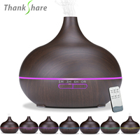 THANKSHARE 550ml Humidifier Remote Control Ultrasonic Air Diffuser Wood Grain Aromatherapy Essential Oil Aroma Mist Maker