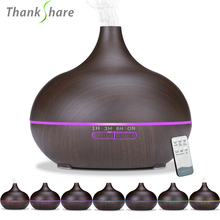 THANKSHARE difusor de aceite esencial de aromaterapia, humidificador de aire ultrasónico con Control remoto de grano de madera, con 7 colores, 550ml