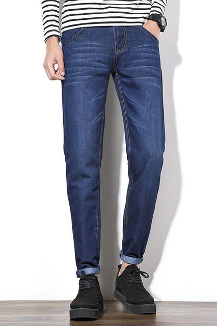 fd0358013a09b Cuatro Estaciones Pueden Usar Los Hombres de Moda Marca de Calidad Delgado Jeans  Rectos Cintura Jóvenes