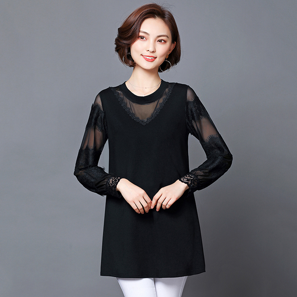 Spring and summer new style large size L-5XL women's clothing Temperament lace mesh gauze stitching top