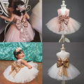 XMAS Gift Kids Clothes Baby Girl clothes Lace Floral Boknot Backless Girls Dress Party Bridesmaid Dresses for age 0-10Years
