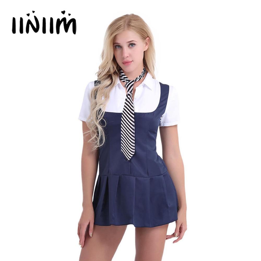 2Pcs Women Adult Schoolgirl Student Costume Uniform Night Club Cosplay Party Dresses Short Sleeve Fancy Shirt Dress with Necktie