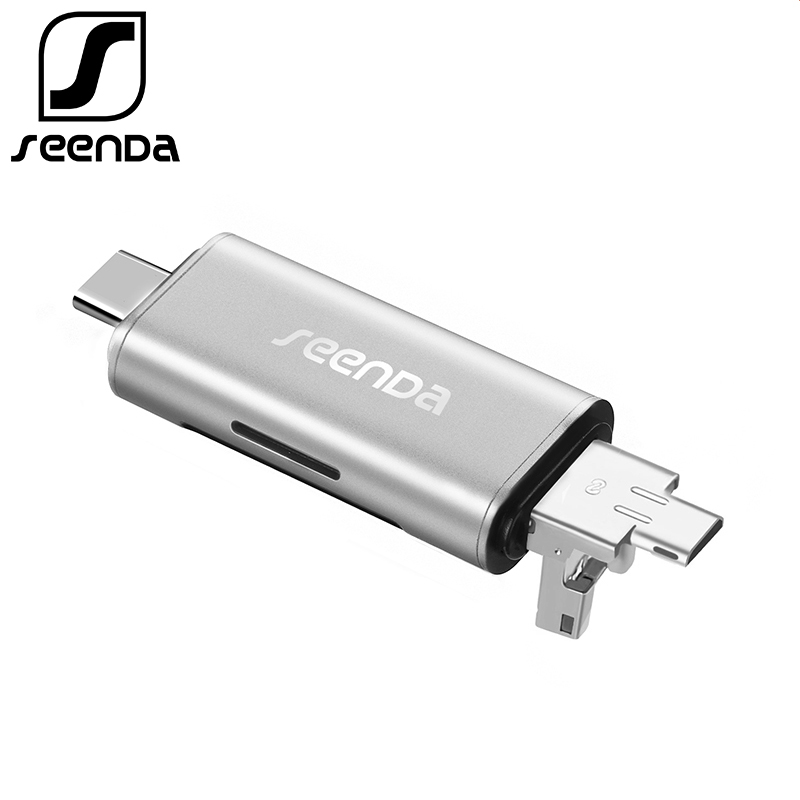 Lector de tarjetas SeenDa All In 1 USB 3,0 de alta velocidad SD TF Micro SD lector de tarjetas de memoria OTG tipo C lector de tarjetas Micro USB Adaptador SD