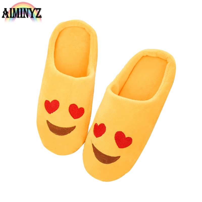 Emoji Slippers Women Soft Expression Home Plush House Warm Shoes Bedroom Fur Emotion Room Cartoon Comfort Indoor Floor Chausson indoor soft emoji slippers cartoon plush slipper home with the full expression women men slippers winter house shoes one pair