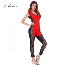 Echoine Sexy Jumpsuit Women Romper PU Patchwork Hooded Mesh Hollow Out See See Through Sportwear Long Pencil Pants Tight Clothes цены