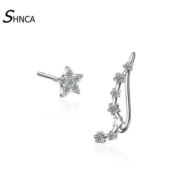 925 Sterling Silver Star Zircon Stud Earrings Women Fashion Jewelry,Silver
