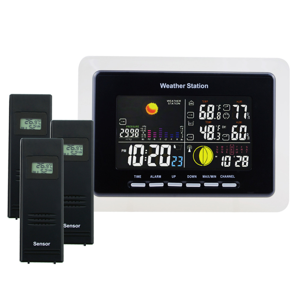 Weather Station Alarm Temperature and Humidity Indicator WWVB RCC Receiver + 3 Wireless Sensors Alarm 8 Function Keys - 110V wireless sensor weather station rcc receiver 8 function keys 5 state weather forecast temperature humidity indicator