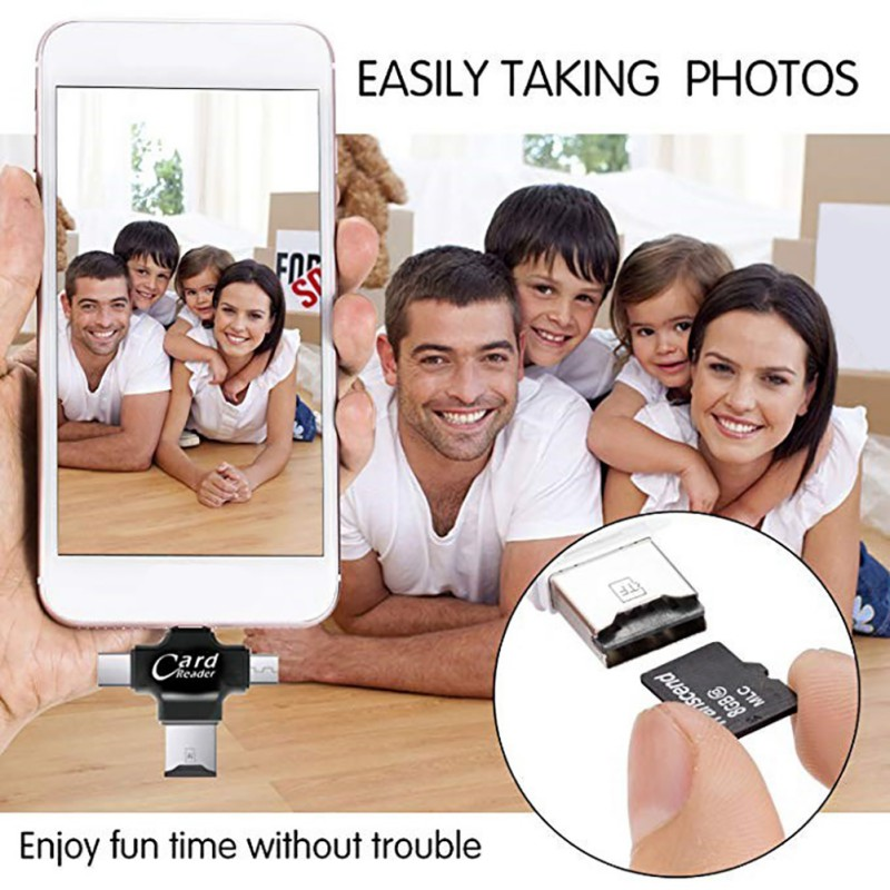 ipad iphone 4 in 1 Portable Super Speed Micro TF Card Reader for iPhone/ipad/PC/Android /USB Type C/Micro USB Interfaces (4)