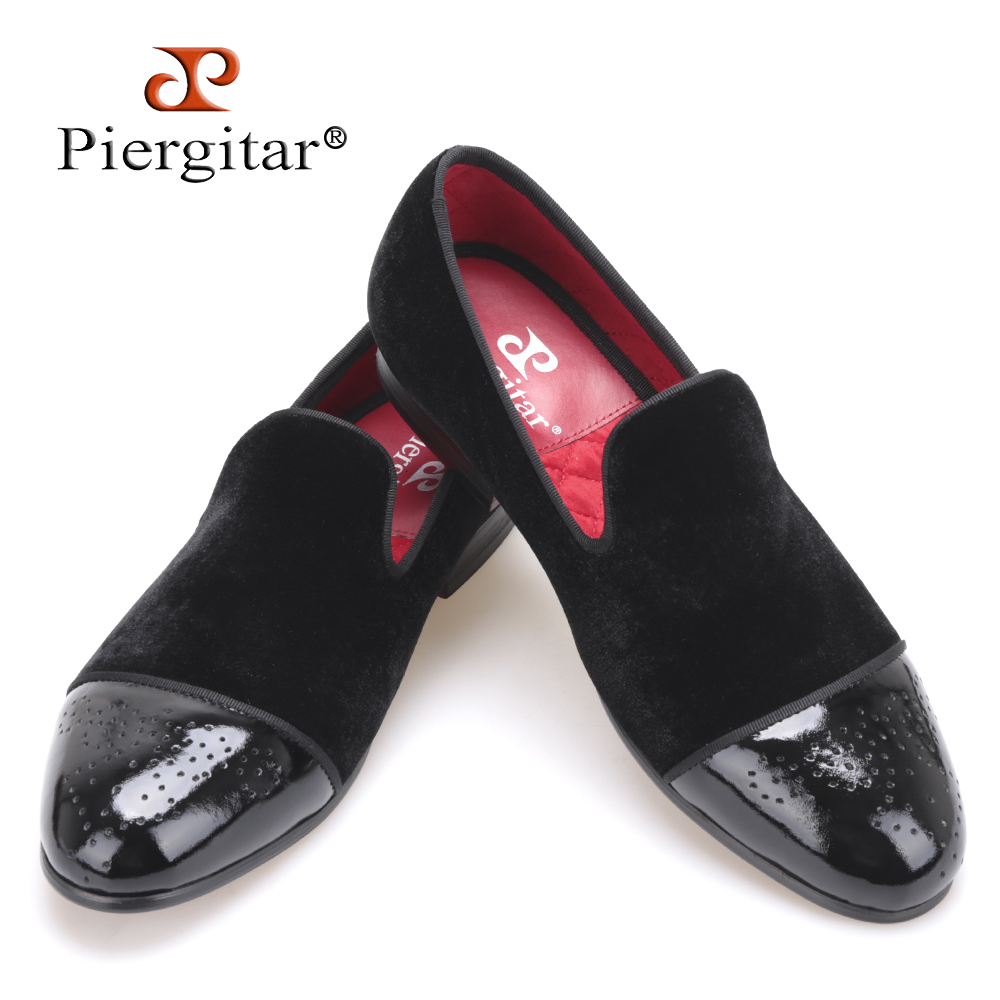 Piergitar new style Patent leather toe with Bullock punch Handmade men velvet shoes wedding and party men loafers men's flats
