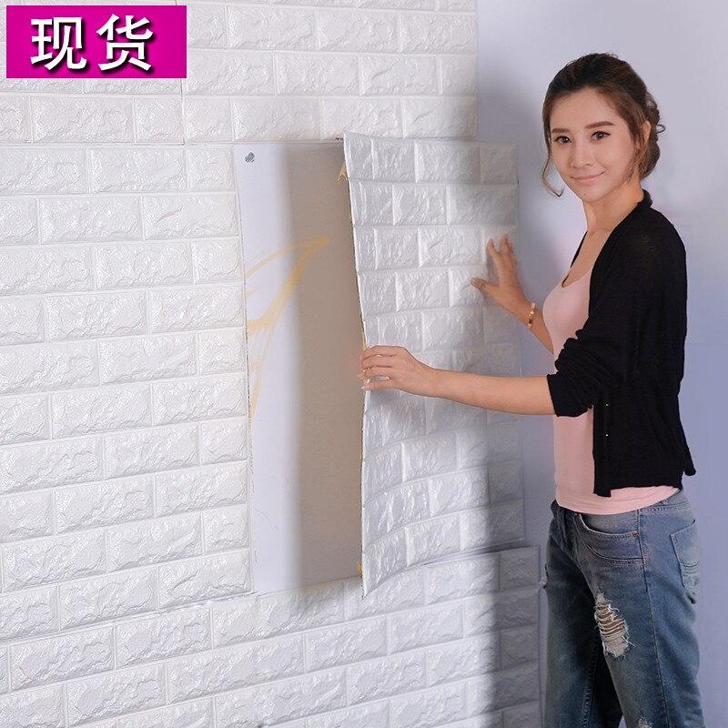 3D гостиной кирпичная стена узор обои stickie общежитие спальня ретро-модель кирпич обои клей