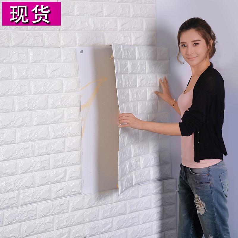 пвх 3D для гостиной кирпичная стена узор обои stickie общежитие спальня ретро-модель кирпич обои adhesive392-Ф