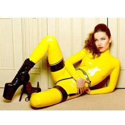 Geel Latex Catsuit Met Kous Latex Outfit Dragen Back rits