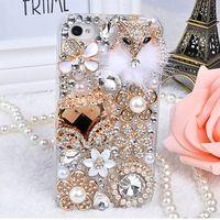 Lujo del diamante de bling caja de cristal cubierta dura para el iphone 4/4s/5/5s/5c/6/6 s/6 plus/iphone 7 y samsung galaxy note 7 5 4 3 s7