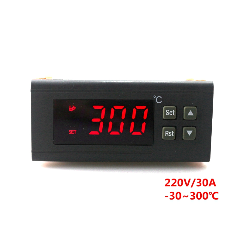 Digital Temperature Controller RC-114M AC 220V 30A Thermostat Control -30~300 Celsius Red LED + 2m NTC Sensor Free Shipping c 114m 220v 10a 30 300 degree digital temperature controller thermostat regulator with temperature sensor output