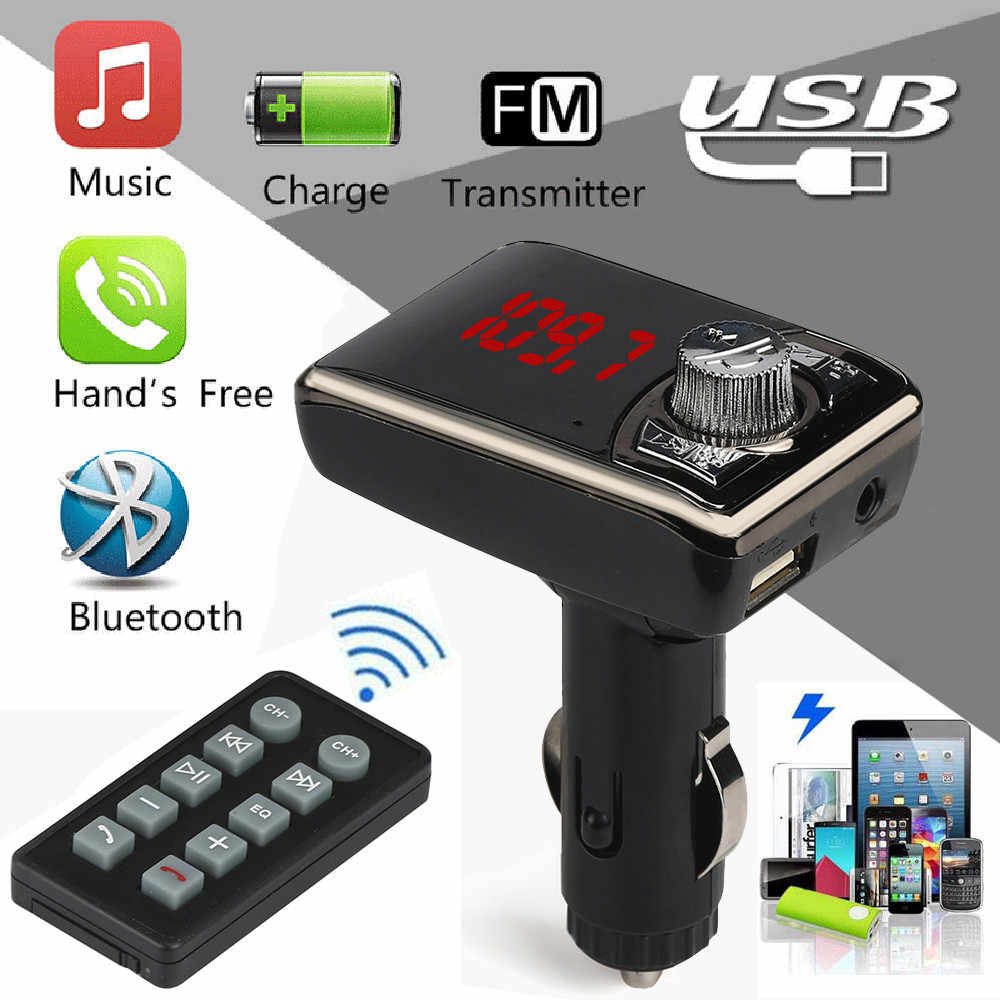 Multifunction Intelligent Bluetooth Car Kit MP3 Player Wireless FM Transmitter Handsfree USB TF SD Remote Adapter Modulator H205