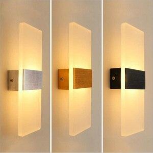 Image 1 - אקריליק מנורת קיר פשוט סגנון אורות מיטת סלון מלון מסדרון מעבר LED קיר אורות AC110V 220V גופי תאורה