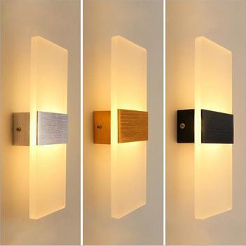 Akrylowa lampa ścienna prosty styl lampki nocne salon korytarz hotelowy alejek LED kinkiety AC110V 220V oprawy oświetleniowe tanie i dobre opinie Hoonia W górę iw dół Foyer Bed room Badania Hotel Corridor Aisle ROHS Other 90-260 v 110 v 220 v It depends Aluminium