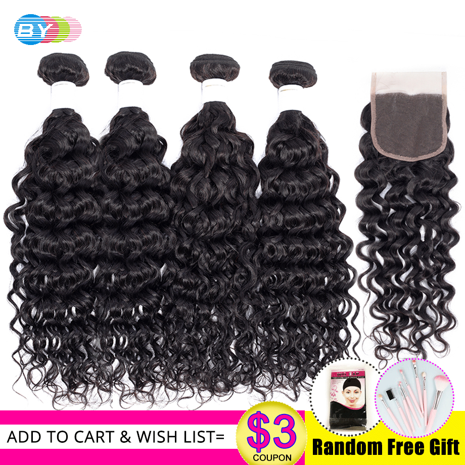 BY 4 Bundles With Closure Swiss Hd Lace Closure With Bundles Remy Brazilian Waterwave Bundles With