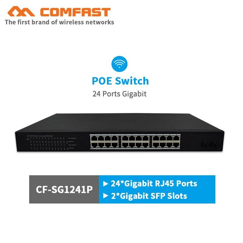 24 ports gigabit POE commutateur COMFAST réseau commutateur avec 54 Gbps Large largeur 250 w puissance 24*1000 mbps RJ45 port + 2 * gigabit SFP slots