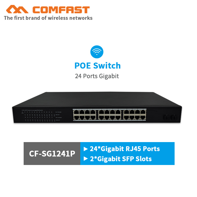 24 ports gigabit POE switch COMFAST network switch with 54Gbps Broad width 250W power 24*1000Mbps RJ45 port+2*gigabit SFP slots 24 pcs rj45 modular network pcb jack 56 8p w led 4 ports