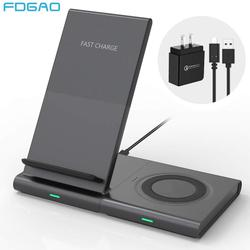 2 In 1 Wireless Charger Stand Pad 10W Qi Fast Charging Dock Station For Samsung Galaxy Watch Gear S10 S9 S8 Buds iPhone XS X 8