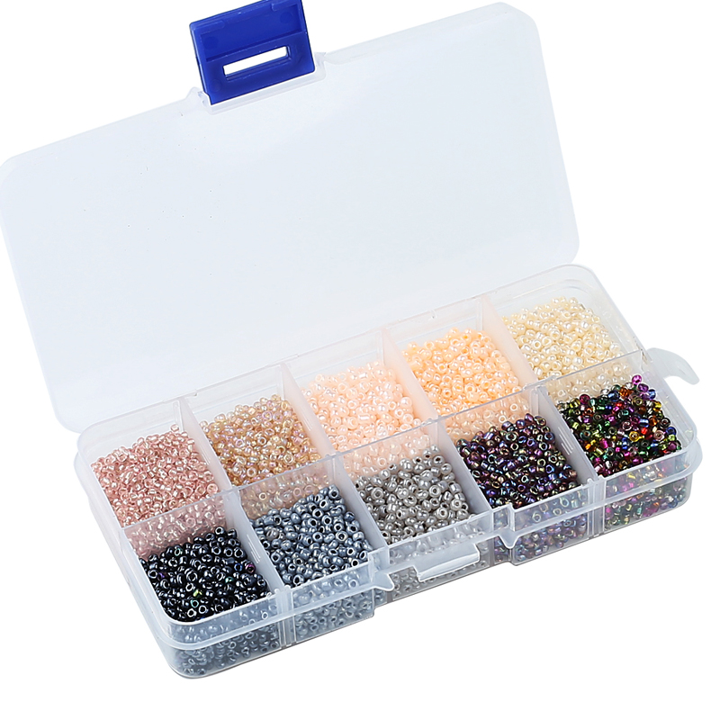 One Box 10 Colors Mixed 2MM Czech Glass Beads Austria Crystal Seed Round Hole Spacer Beads For Kids DIY Jewelry Making Hot Sale free shipping 2500pcs mixed colors mixed sizes no hole round pearls no hole imitation beads craft pearl beads jewelry pearls