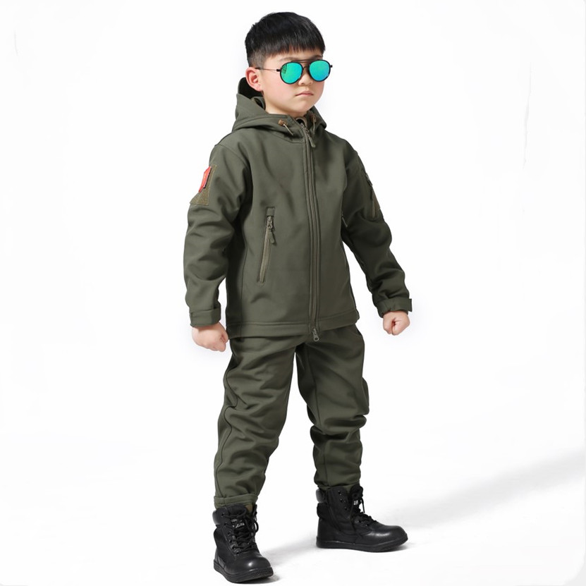 Kids Outdoor Trekking Hiking Jacket Pants Set CS Training Climbing Suit Windproof Shark Skin Soft Shell Children Hunting Clothes