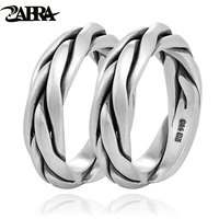 ZABRA Real Solid 999 Sterling Silver Couple Rings For Women Men Adjustable Ring Vintage Punk Rock Fashion Gift Lover Jewellry