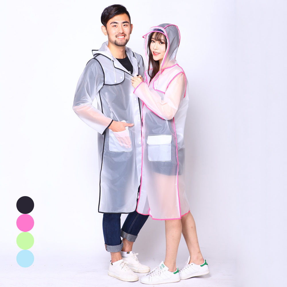 Raincoat EVA Transparent Clear Hoodie Raincoat Rainwear for Women Men Runway -MX8
