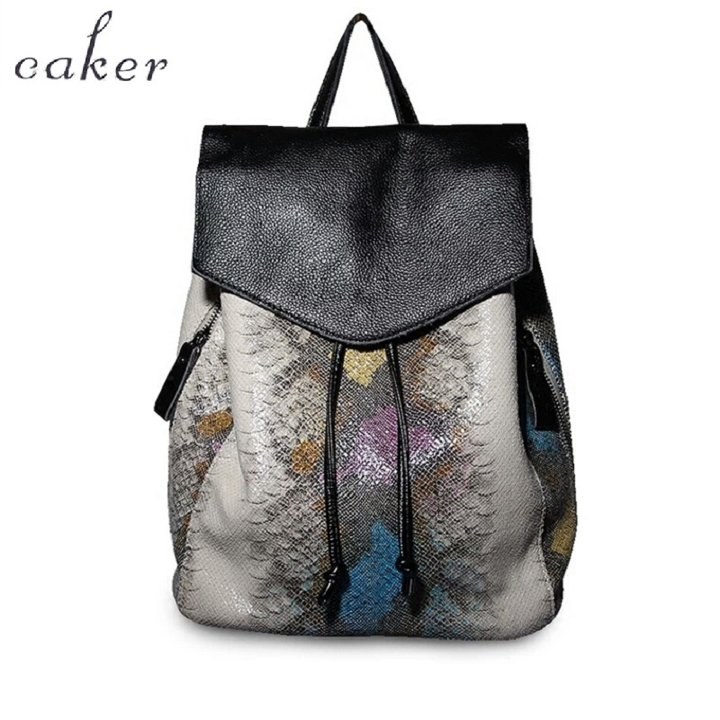 Caker Women Backpack PU Leather School Bags Female Serpentine Prints Drawstring Backpacks Drawstring Alligator Backpack For
