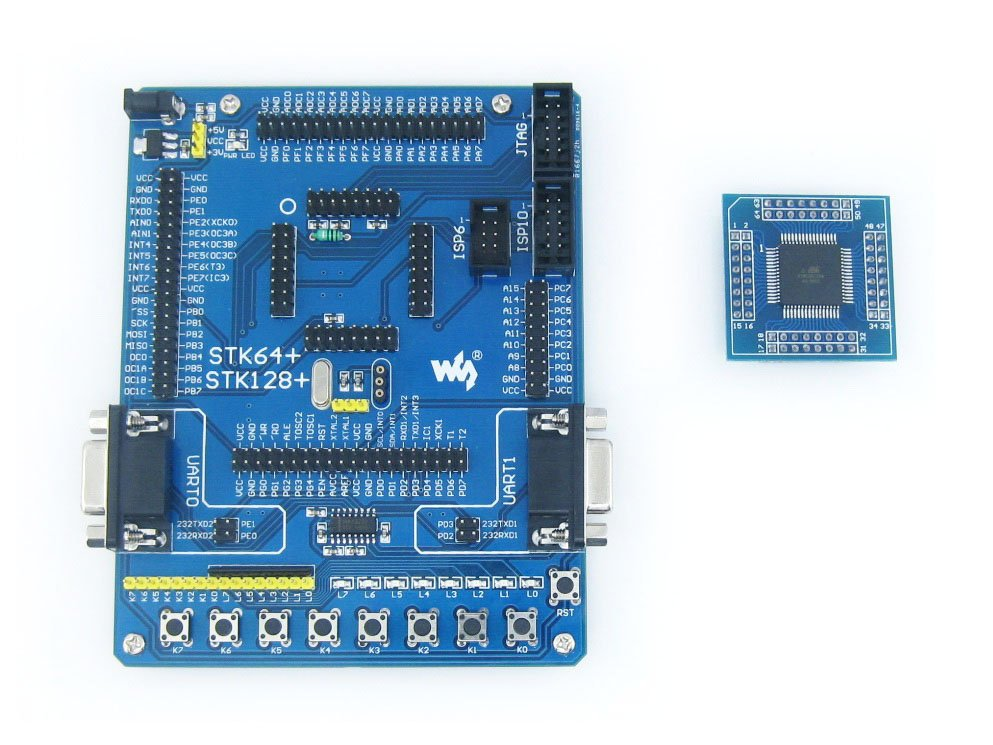 ATmega64 Board ATmega64A ATMEL AVR Development Board Kit + 2pcs ATmega64A-AU Cores = Waveshare STK64+ Premium Free Shipping 5pcs lot atmega64 atmega64a atmega64a au tqfp 64 at brand flash 100
