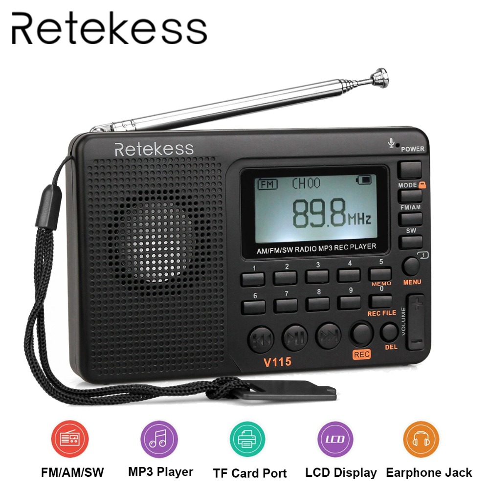 RETEKESS V115 Ricevitore radio FM AM SW Tasca radio portatile con USB MP3 Registratore digitale Supporto Micro SD TF Card Sleep Timer