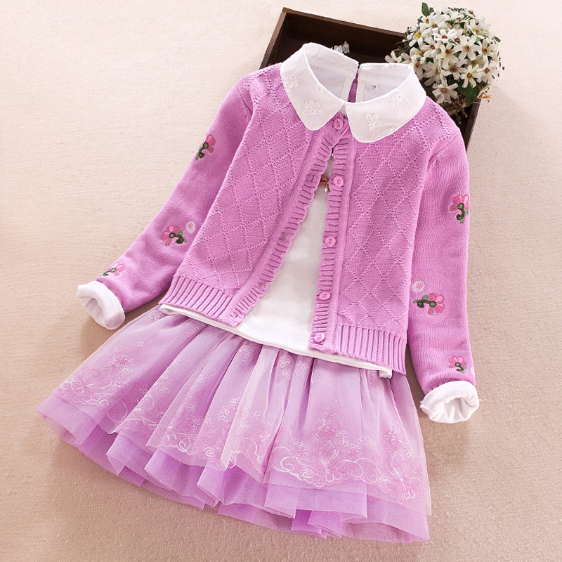 Big girls clothing sets 2018 new Spring Autumn Winter Cotton Kids Coat+T-shirt+skirt 3pcs teenager Suits 7 8 9 10 12 13 14 years kids girls spring fall 2 pcs sets 2017 new baby girls clothing knitted sweater butterfly skirt suit 4 5 6 7 8 9 10 11 12 13
