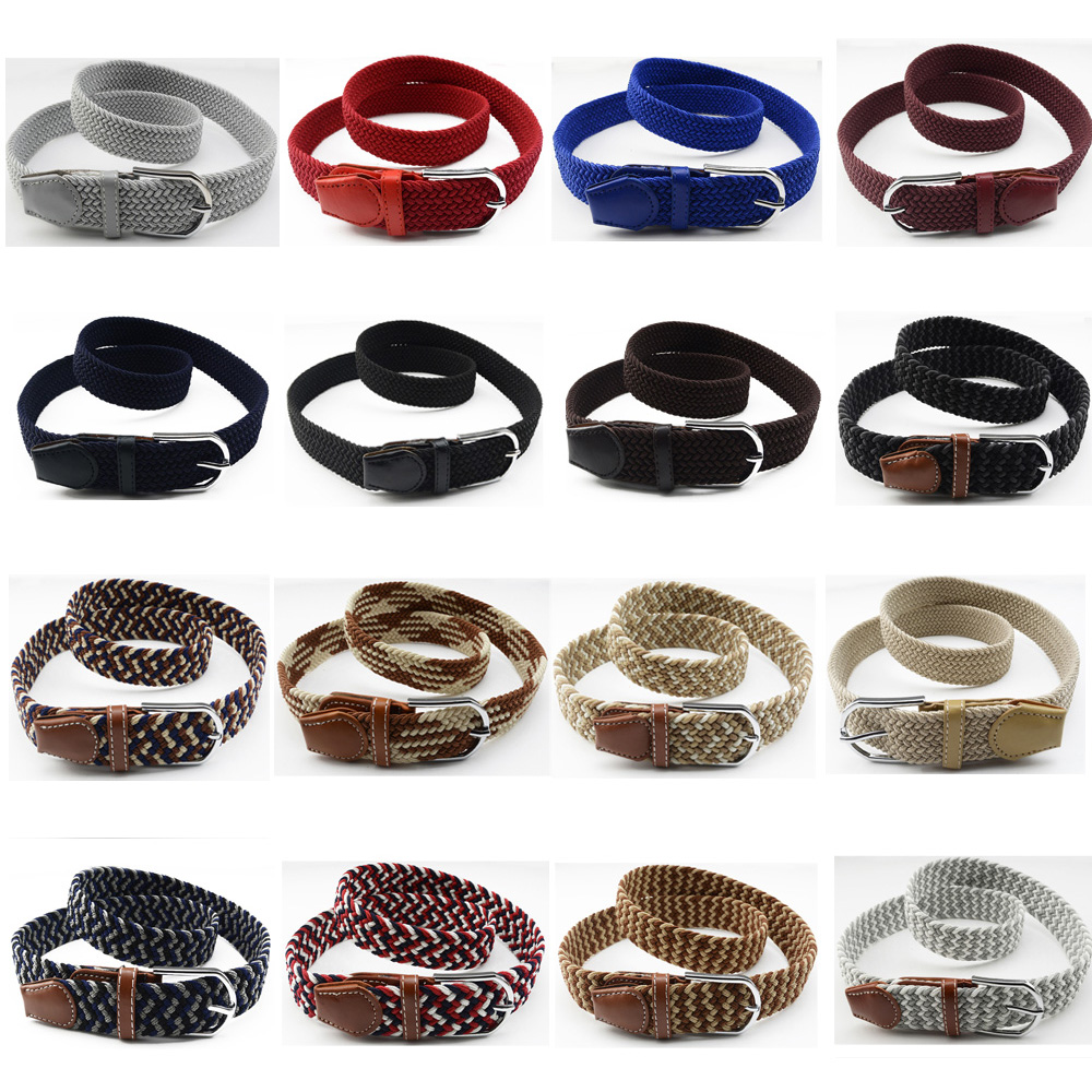 Men Classic Silver Buckle   Belt   Canvas Military Braided Elastic Jeans Waistband BLTHG0323