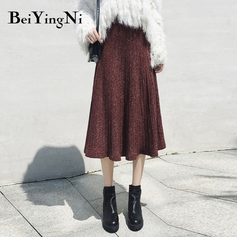 Beiyingni Autumn Winter Womens Skirts Vintage High Waist Pleated Skirt Chic Solid Korean Casual Saia Female Knitted Fashion 2019