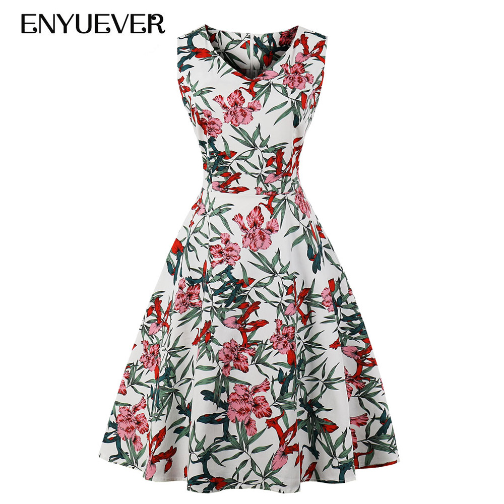 a172e78e9d63b Enyuever Women Dress Plus Size Summer Casual Party Robe Retro Rockabilly  50s 60s Big Swing Floral Print Pin Up Vintage Dress 4XL