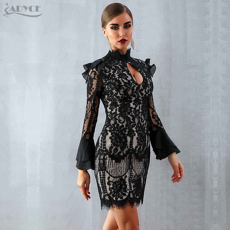 b47ec1b65e Adyce 2019 New Women Spring Bodycon Bandage Dress Black Long Sleeve Mini  Dress Vestidos Clubwear Celebrity Evening Party Dresses