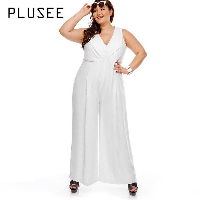 8365d5a814df Plusee Plus Size Jumpsuit 5XL Women Plain White Jumpsuit Slim Autumn  Sleeveless V-Neck Full Length Wide Legs Plus Size Jumpsuit