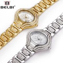 2016 BELBI Relojes de Marca de Lujo Mujeres Rhinestone Reloj de Oro de Cuarzo reloj de Acero de JAPÓN Movimiento de Cuarzo relojes Relogio Feminino