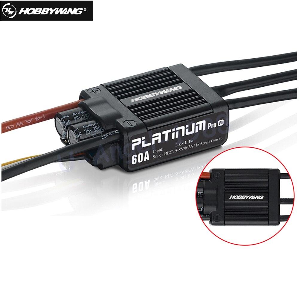 Original HobbyWing platino PRO V4 60A ESC (3 S-6 s) para 450-480 clase Heli (de la hélice: 325-360mm)