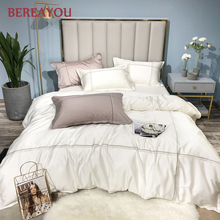 White Luxury Bedding Sets Solid Tencel Cotton 4/6pcs Full King Size Bed Sheet and Pillowcases Summer nevresim takimlari