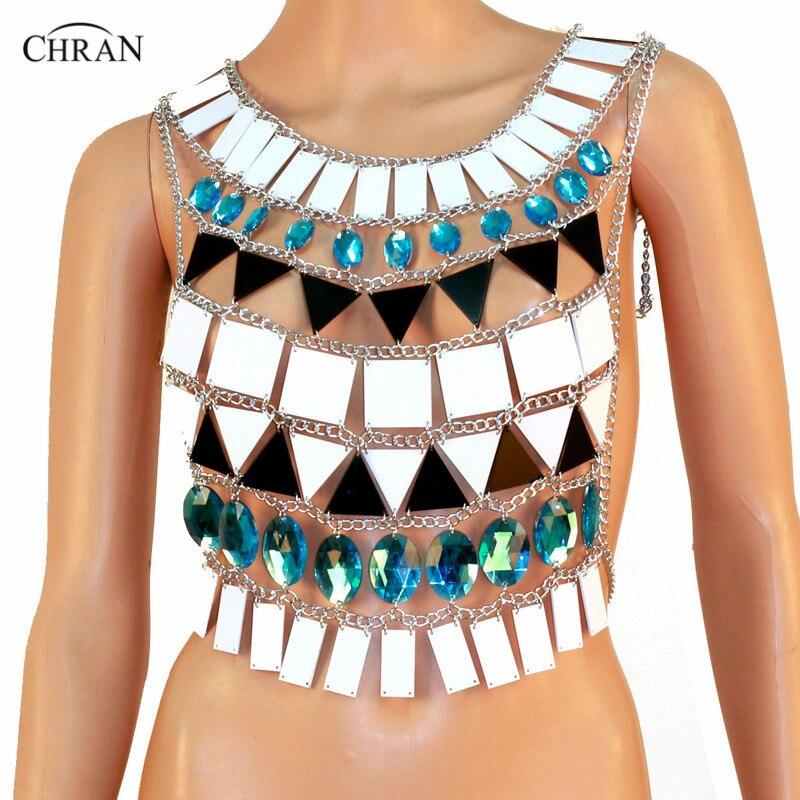 Chran Perspex haut court Sonus Festival soutien-gorge harnais collier EDC tenue porter corps Lingerie métallique Bikini débardeur EDM bijoux CRM804
