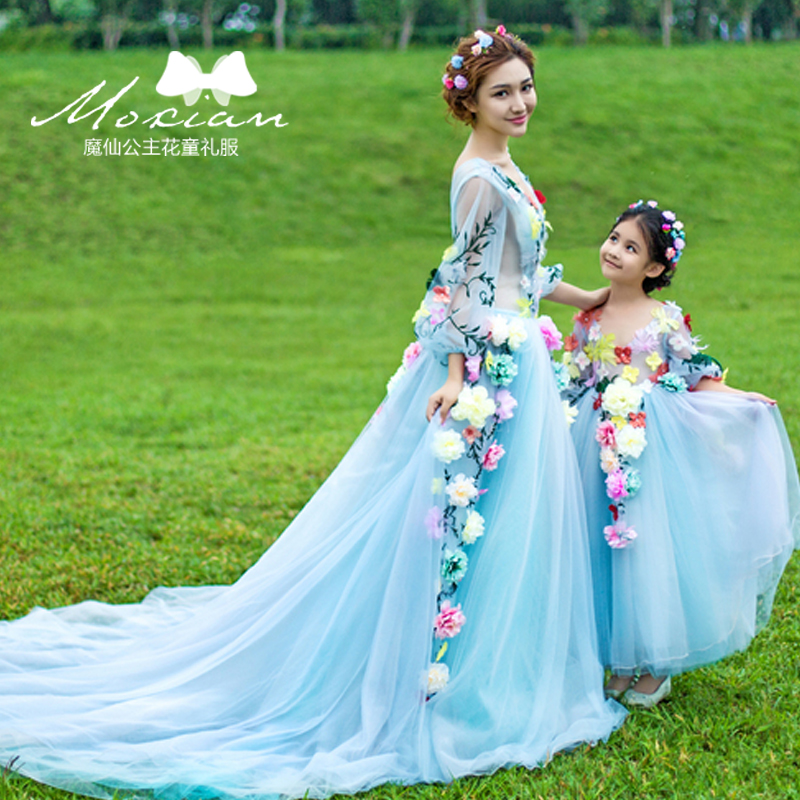 Mother Daughter Wedding Dresses Little Girls Fairy Party Tutu Long Dresses Mother Mom and Daughter Princess Dress Kids Clothes серьги агат серый серебро 925 пр